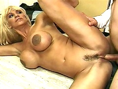 Redhot blonde MiLF gets her face filled with cock cream
