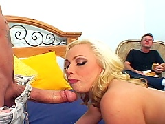 Julian drills his hard meat pipe into bleach blonde MILFS shaved box