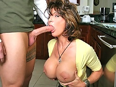 Horny mom with huge boobs gets her ass fucked by giant cock