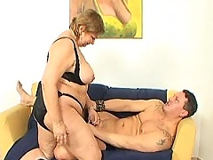 Big chubby grandma fucking with her young lover