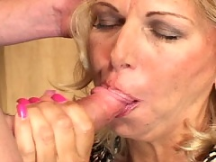 Old blonde slut offers up some tasty perky tits