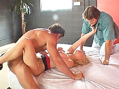 Curly haired big tit blonde wife gets a cock hammering from a stranger