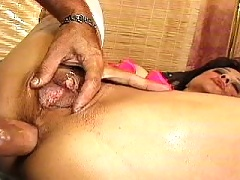 Mom gets a stiff rod up her poop chute
