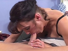 Brunette MiLF Spit Swabs the Manmeat