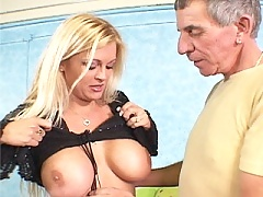 Big tit blonde wife takes some new dick doggie while sucking off her old man