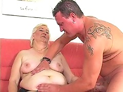Old fat cow riding on dick