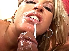 Nasty blonde whore loves having her mouth filled with man jizz
