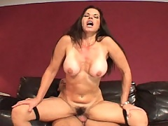 Slut MiLF rides a reverse cowboy on this long meat pole