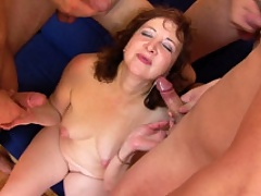 Mature mom with sexy pink nipples getting her every hole polished by four strong young cocks