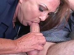 Mature redhead learnds to deep throat some thick cock