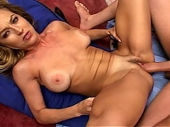 MiLF whore gets her face plastered with thick man goo