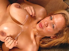 Michelle gets her face and tits soaked in cum