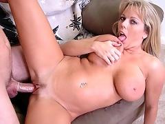 Busty milf Amber Bach fucks big young cock