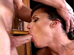 Brunette slut gets her old mouth pounded and her throat gagged