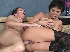 Old brunette whore spreads her legs wide for thick cock