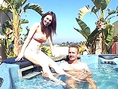 Sexy brunette wife gets cock blasted in the jacuzzi while sucking off her man