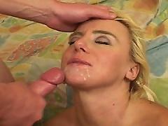 Slutty blonde mature MiLF gets her face washed with cum