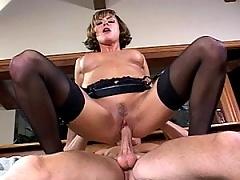Cute pert mature MiLF spreads her ass checks for a cock invasion