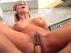 Mature lady gets jizz to tits