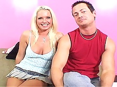 Cock hungry blonde MILF gets drilled by a strange dick while hubby gets deep throated